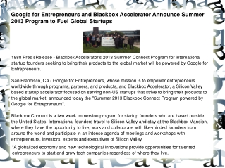 Google for Entrepreneurs and Blackbox Accelerator Announce S