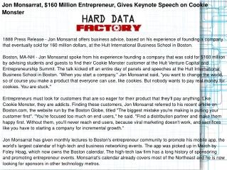 Jon Monsarrat, $160 Million Entrepreneur, Gives Keynote Spee