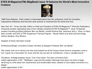 EYES IN Magazine(TM) (MagBook) issue 19 features