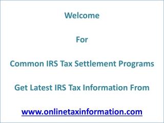 Online IRS Tax Settlement Programs