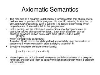 Axiomatic Semantics