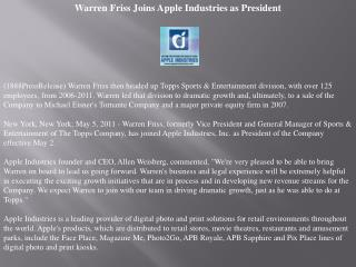 warren friss joins apple industries as president