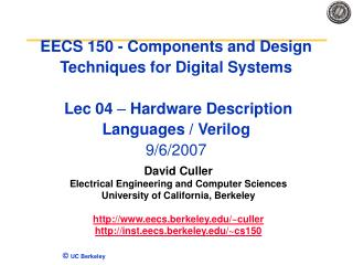 EECS 150 - Components and Design Techniques for Digital Systems ...