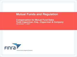 Mutual Funds and Regulation Compensation for Mutual Fund Sales