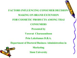 FACTORS INFLUENCING CONSUMER DECISION-MAKING ON BRAND EXTENSION ...