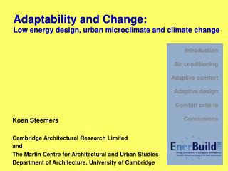 Koen Steemers  Cambridge Architectural Research Limited  and The Martin Centre for Architectural and Urban Studies Depar