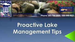 Proactive Lake Management Tips