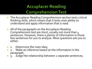 Accuplacer Reading Comprehension Test