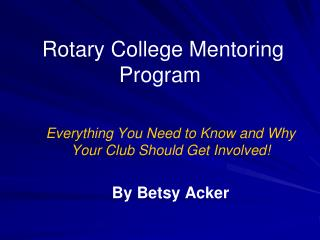 Rotary College Mentoring Program