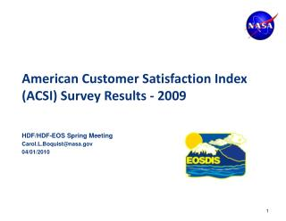 American Customer Satisfaction Index ACSI Survey Results - 2009