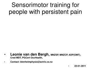 Sensorimotor training for people with persistent pain
