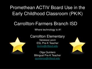 Promethean ACTIV Board Use in the Early Childhood Classroom PK