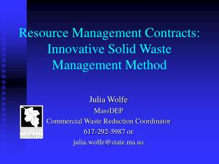 Resource Management Contracts: Innovative Solid Waste Management Method