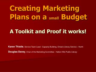 Creating Marketing Plans on a small Budget