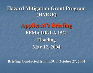 Hazard Mitigation Grant Program HMGP