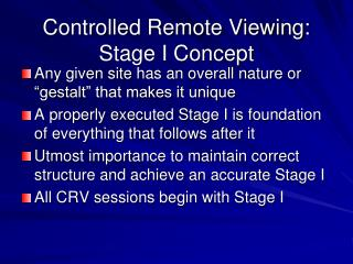 controlled remote viewing: stage i concept