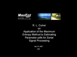 Application of the Maximum Entropy method to sonar signal processing