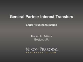 General Partner Interest Transfers
