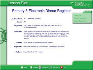 P5 Electronic Dinner Register