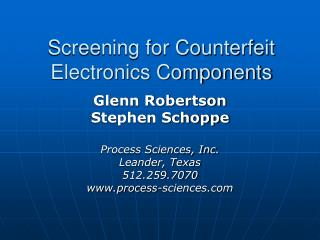 Screening for Counterfeit Electronics Components