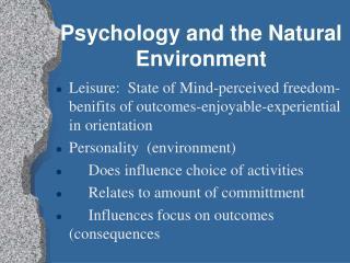 Psychology and the Natural Environment