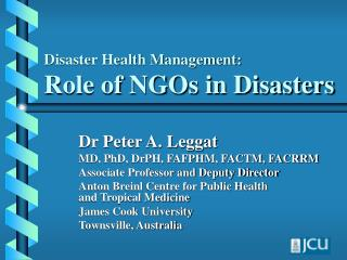 Disaster Health Management: Role of NGOs in Disasters