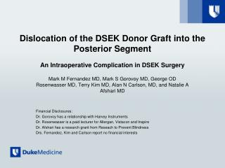 Dislocation of the DSEK Donor Graft into the Posterior Segment  An Intraoperative Complication in DSEK Surgery