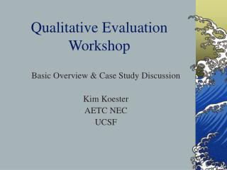 Qualitative Evaluation Workshop