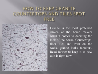 How to Keep Granite Countertops and Tiles Spot Free