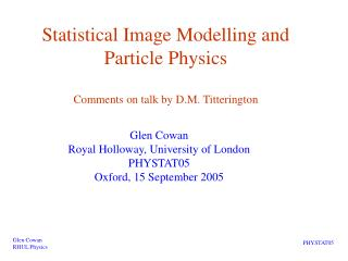 Statistical Image Modelling and Particle Physics Comments on ...