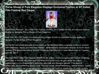 Parna Ghose of Pure Elegance Displays Exclusive Fashion at N