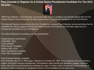 Paul Chehade Is Register As A United States Presidential