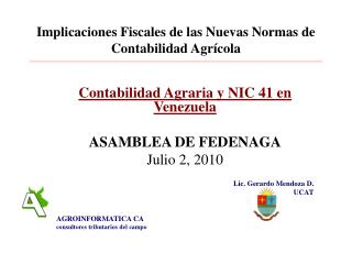 Implicaciones Fiscales de las Nuevas Normas de Contabilidad Agr cola