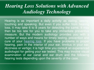 Hearing Loss Solutions with Advanced Audiology Technology
