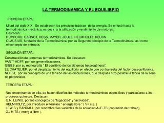 LA TERMODINAMICA Y EL EQUILIBRIO