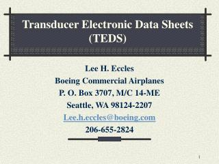 Transducer Electronic Data Sheets TEDS