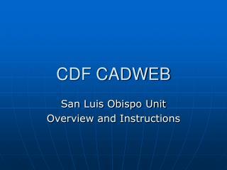 CDF CADWEB