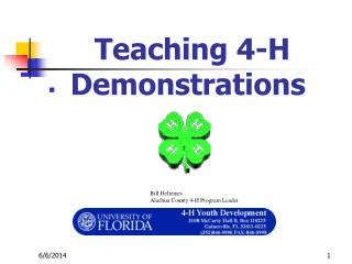 Teaching 4-H Demonstrations