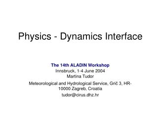 Physics - Dynamics Interface