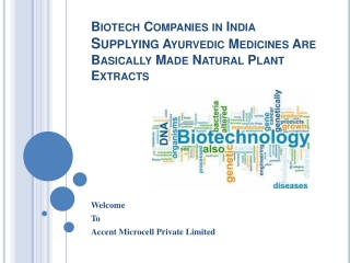 Biotech Companies in India Supplying Ayurvedic Medicines Are