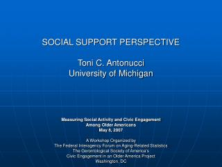 SOCIAL SUPPORT PERSPECTIVE Toni C. Antonucci University of ...