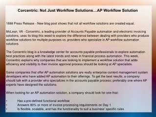 Corcentric: Not Just Workflow Solutions�AP Workflow Solution
