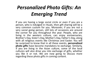 Personalized Photo Gifts: An Emerging Trend