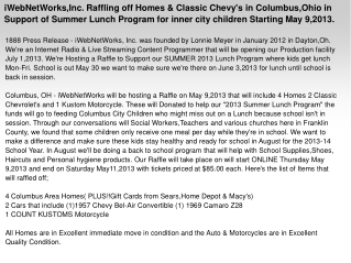 iWebNetWorks,Inc. Raffling off Homes & Classic Chevy's