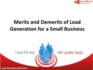 Merits and Demerits of Lead Generation for a Small Business
