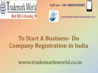 To Start A Business- Do Company Registration in India