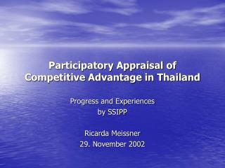 Participatory Appraisal of Competitive Advantage in Thailand
