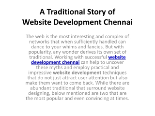 A Traditional Story of Website Development Chennai
