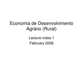 Economia de Desenvolvimento Agr