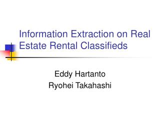 Information Extraction on Real Estate Rental Classifieds